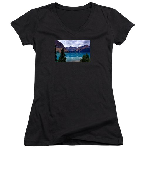 Bow Lake, Banff, Ab  Women's V-Neck T-Shirt (Junior Cut) by Heather Vopni