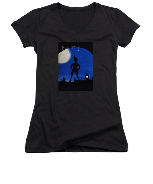 Never Grow Up Women's V-Neck T-Shirt (Junior Cut) by Annie Walczyk