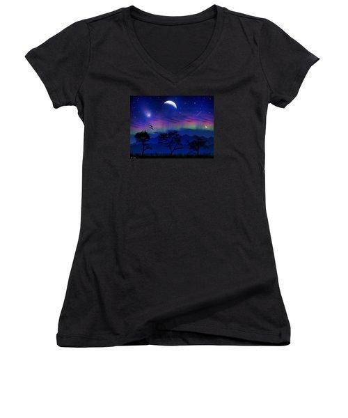 Women's V-Neck T-Shirt (Junior Cut) featuring the photograph Neverending Nights by Bernd Hau