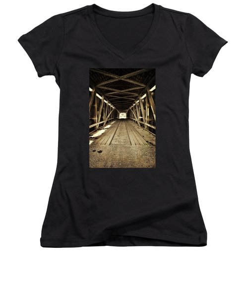 Nevins Bridge Women's V-Neck T-Shirt (Junior Cut) by Joanne Coyle
