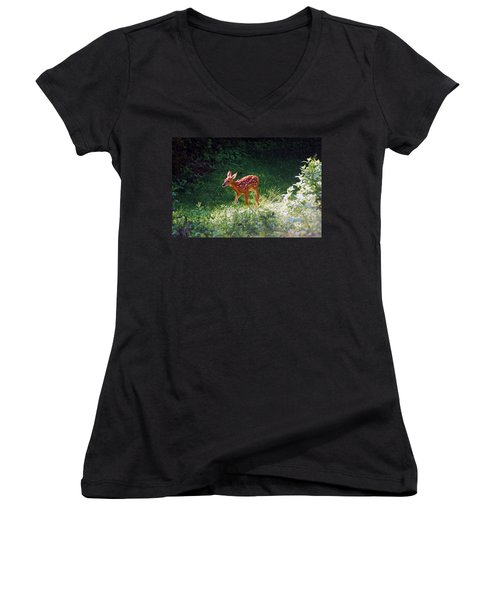 New Backyard Visitor Women's V-Neck T-Shirt (Junior Cut)