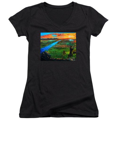 New Beginnings Women's V-Neck T-Shirt (Junior Cut) by Ruanna Sion Shadd a'Dann'l Yoder