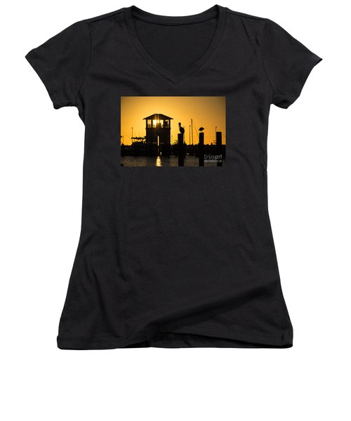 Women's V-Neck T-Shirt (Junior Cut) featuring the photograph New Day by Brian Wright