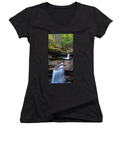 New Hampshire Sabbaday Falls Panorama Women's V-Neck T-Shirt (Junior Cut) by Ranjay Mitra