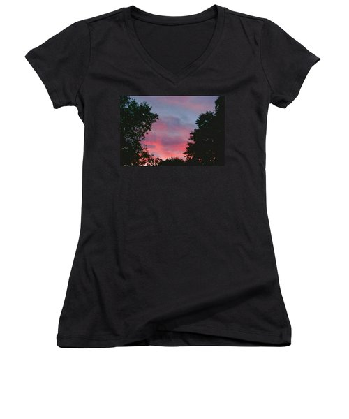 Women's V-Neck T-Shirt (Junior Cut) featuring the digital art New Hampshire Sunset by Barbara S Nickerson