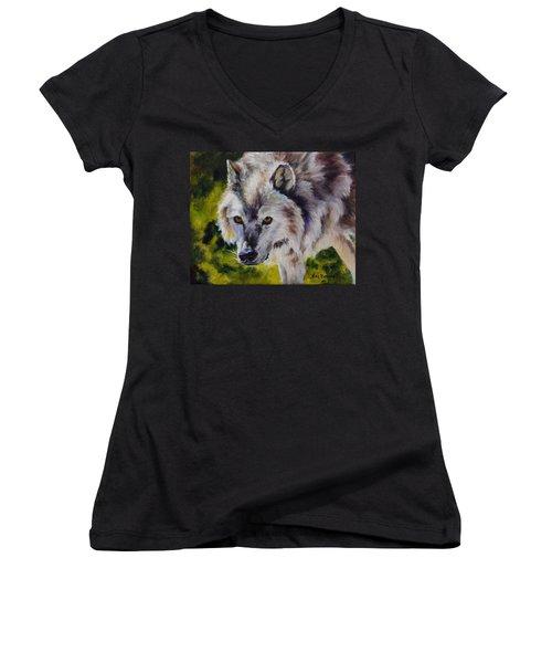 New Kid On The Block Women's V-Neck T-Shirt (Junior Cut) by Lori Brackett