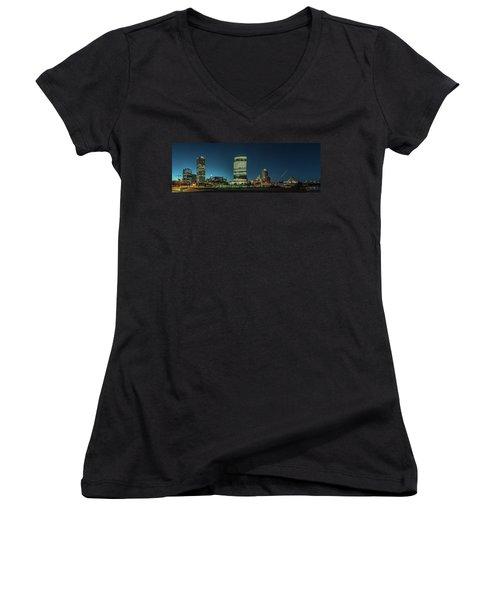 New Milwaukee Skyline Women's V-Neck T-Shirt (Junior Cut) by Randy Scherkenbach