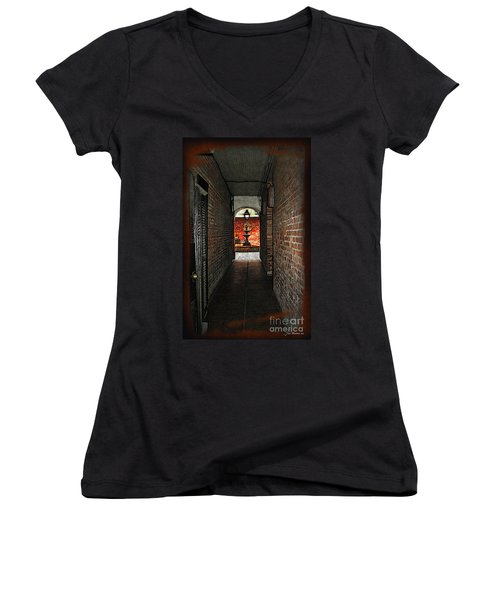 New Orleans Alley Women's V-Neck T-Shirt (Junior Cut) by Joan  Minchak