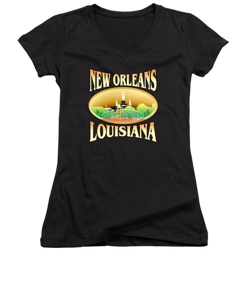 New Orleans Louisiana Tshirt Design Women's V-Neck (Athletic Fit)