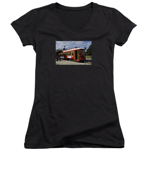 New Orleans Street Car Women's V-Neck (Athletic Fit)