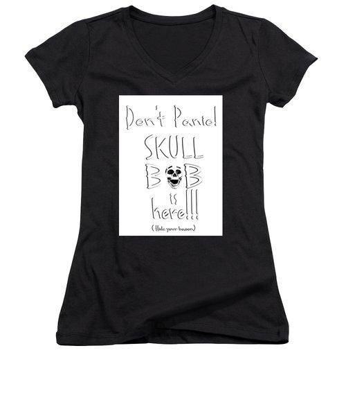 Skull Bob Women's V-Neck (Athletic Fit)