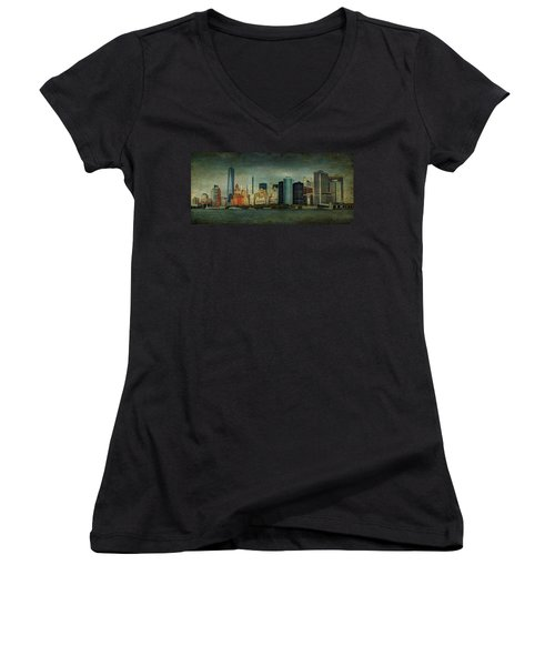 New York After Storm Women's V-Neck T-Shirt (Junior Cut) by Dan Haraga