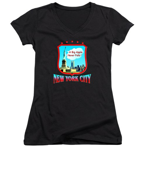 New York Big Apple Design Women's V-Neck (Athletic Fit)