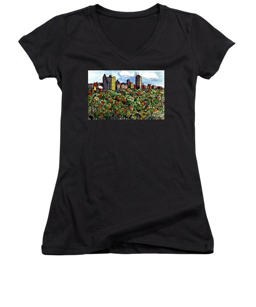 Women's V-Neck T-Shirt (Junior Cut) featuring the painting New York Central Park by Terry Banderas