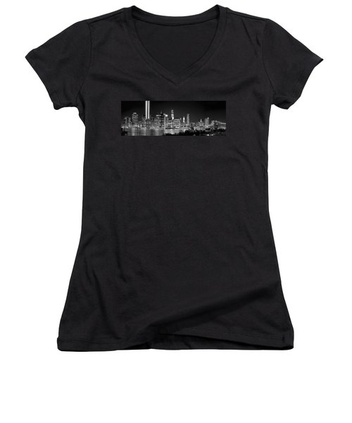 New York City Bw Tribute In Lights And Lower Manhattan At Night Black And White Nyc Women's V-Neck T-Shirt