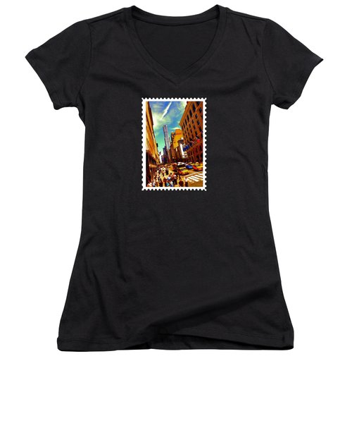New York City Hustle Women's V-Neck T-Shirt (Junior Cut) by Elaine Plesser