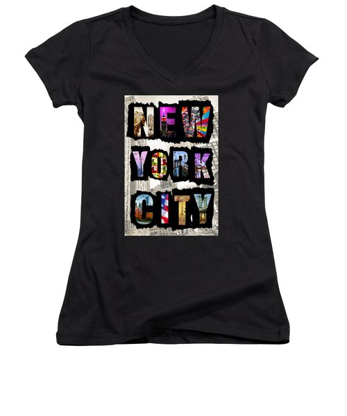 New York City Text Women's V-Neck
