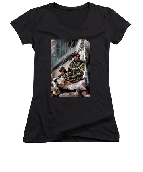 Women's V-Neck T-Shirt (Junior Cut) featuring the painting New York Firefighters After 9/11 Part 2 by Kai Saarto