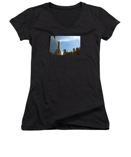 New York Women's V-Neck T-Shirt (Junior Cut) by Helen Haw