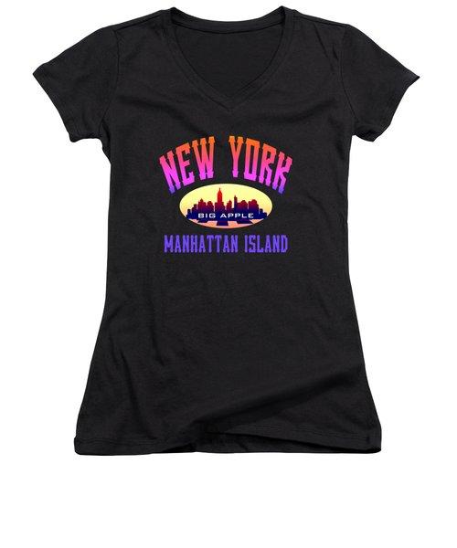 New York Manhattan Island Design Women's V-Neck
