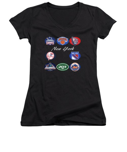 New York Professional Sport Teams Collage  Women's V-Neck (Athletic Fit)