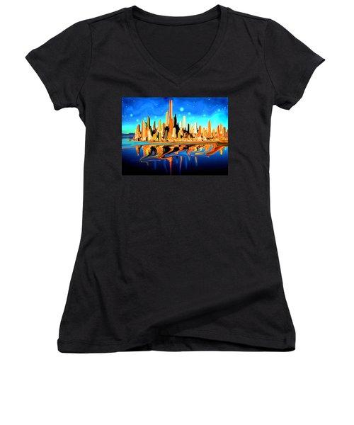 New York Skyline In Blue Orange - Modern Fantasy Art Women's V-Neck