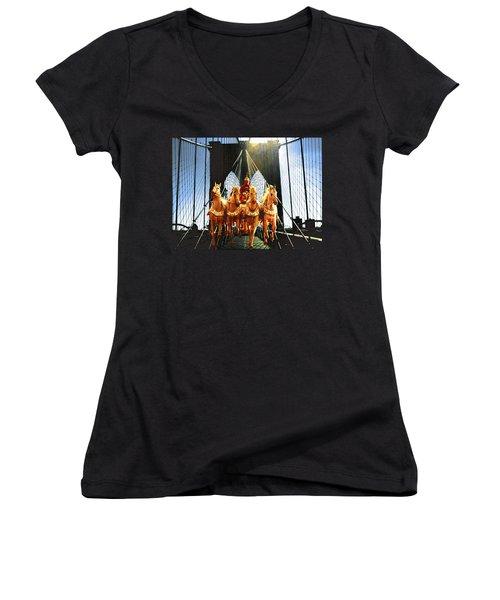 New York Brooklyn Bridge Fantasy Collage Women's V-Neck