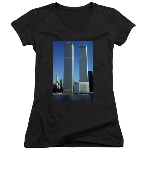 New York World Trade Center Before 911 - Architecture Women's V-Neck T-Shirt (Junior Cut) by Art America Gallery Peter Potter