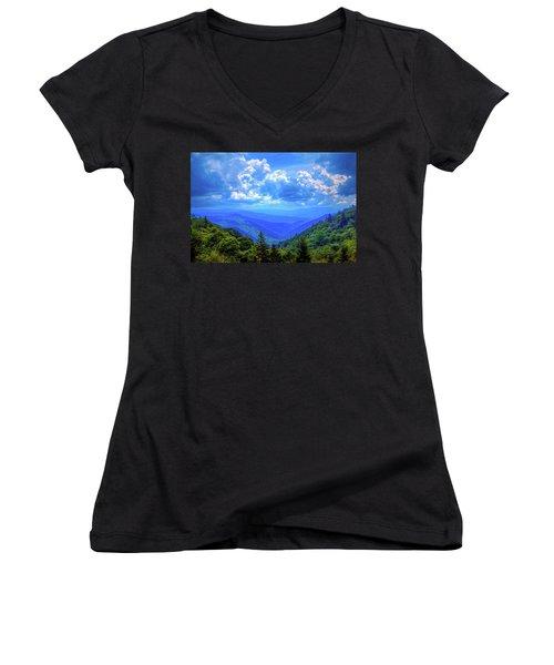 Newfound Gap Women's V-Neck T-Shirt (Junior Cut) by Dale R Carlson