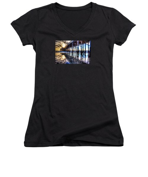 Newport Beach Pier - Reflections Women's V-Neck T-Shirt