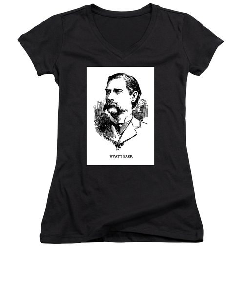 Women's V-Neck T-Shirt (Junior Cut) featuring the mixed media Newspaper Image Of Wyatt Earp 1896 by Daniel Hagerman