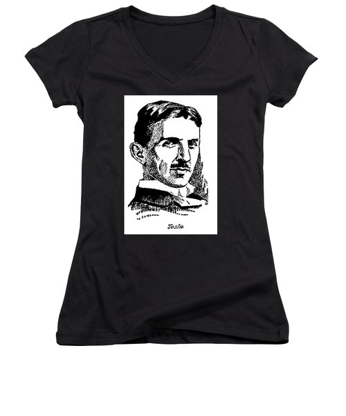 Women's V-Neck T-Shirt (Junior Cut) featuring the digital art Newspaper Nikola Tesla  by Daniel Hagerman