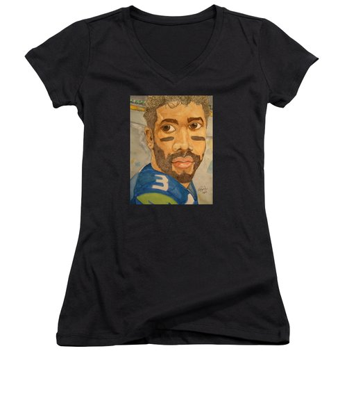 New School Football Seattle Women's V-Neck T-Shirt (Junior Cut) by Rand Swift