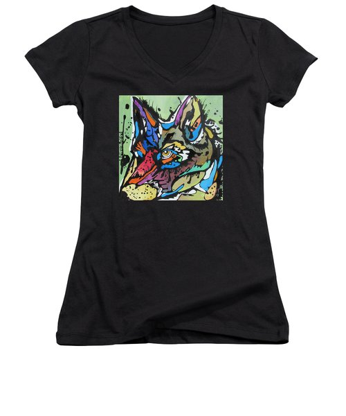 Nico The Coyote Women's V-Neck (Athletic Fit)