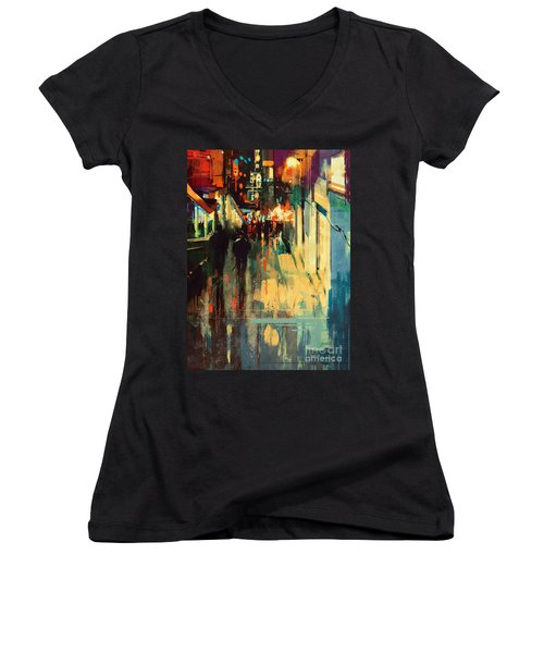 Night Alleyway Women's V-Neck (Athletic Fit)