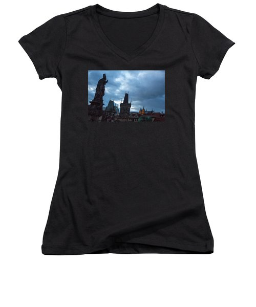 Women's V-Neck featuring the photograph Night Along The St. Charles Bridge by Matthew Wolf