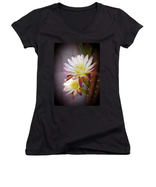 Women's V-Neck T-Shirt (Junior Cut) featuring the photograph Night Blooming Cereus by Marilyn Smith