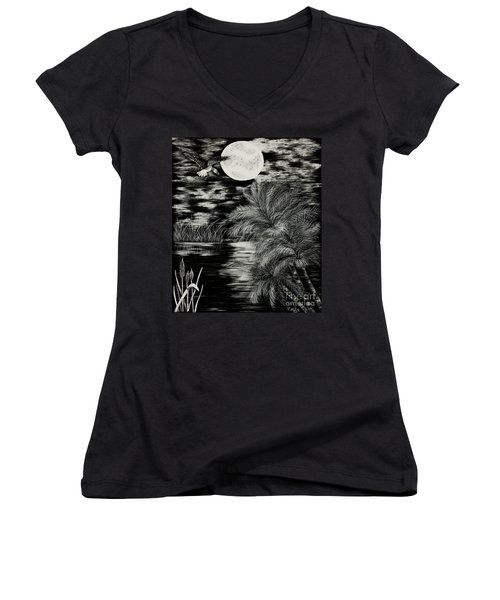 Night Flight Women's V-Neck T-Shirt (Junior Cut) by Terri Mills