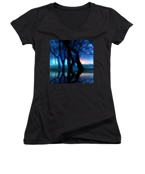 Night Fog In A City Park Women's V-Neck (Athletic Fit)