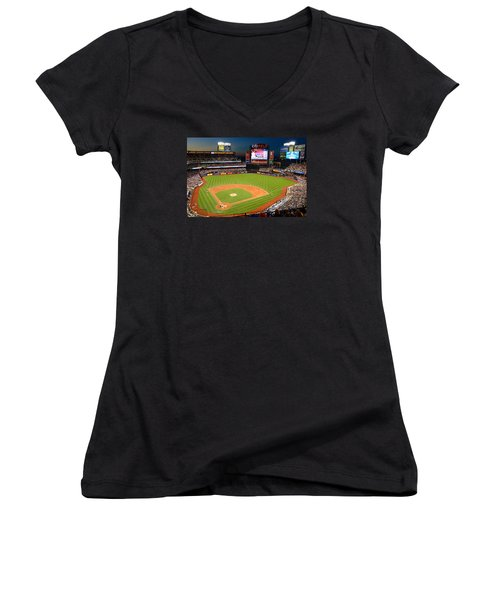 Night Game At Citi Field Women's V-Neck T-Shirt (Junior Cut) by James Kirkikis