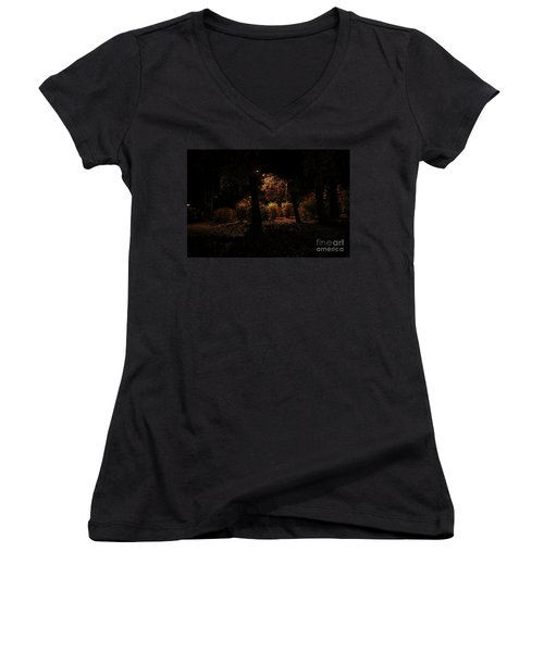 Night In The Park  Women's V-Neck T-Shirt (Junior Cut) by Ana Mireles