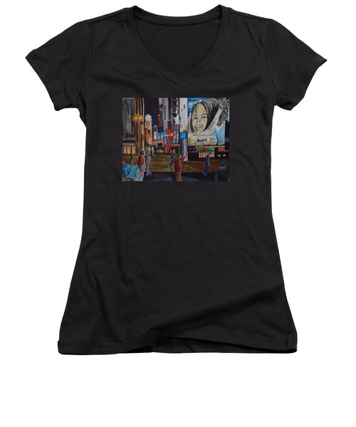 Night In Time Square Women's V-Neck T-Shirt