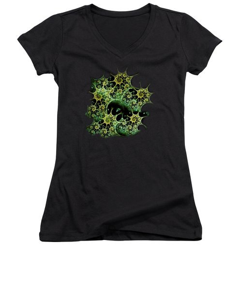 Night Lace Women's V-Neck T-Shirt (Junior Cut) by Anastasiya Malakhova