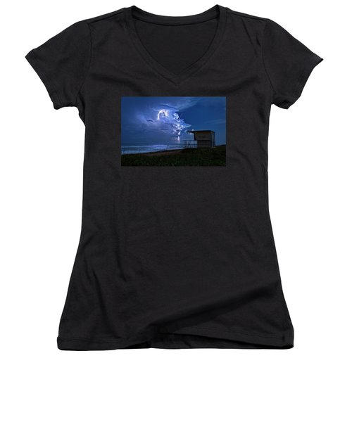 Women's V-Neck T-Shirt (Junior Cut) featuring the photograph Night Lightning Under Full Moon Over Hobe Sound Beach, Florida by Justin Kelefas
