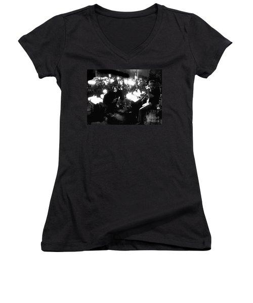 Night Music Women's V-Neck T-Shirt (Junior Cut) by Felipe Adan Lerma