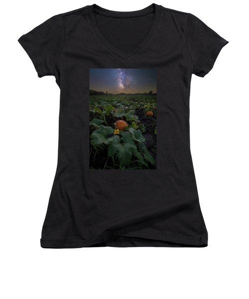 Women's V-Neck T-Shirt featuring the photograph Night Of The Pumpkin by Aaron J Groen