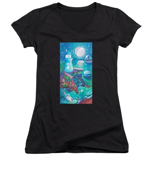 Night Out At Sea Women's V-Neck T-Shirt