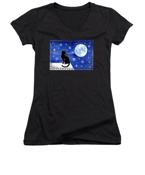 Night Patrol At Wintertime Women's V-Neck (Athletic Fit)