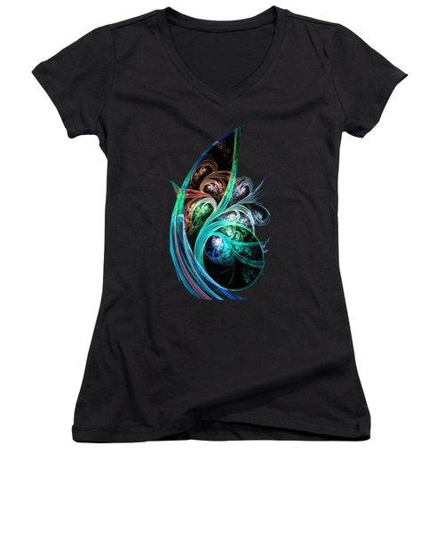Night Phoenix Women's V-Neck T-Shirt (Junior Cut) by Anastasiya Malakhova