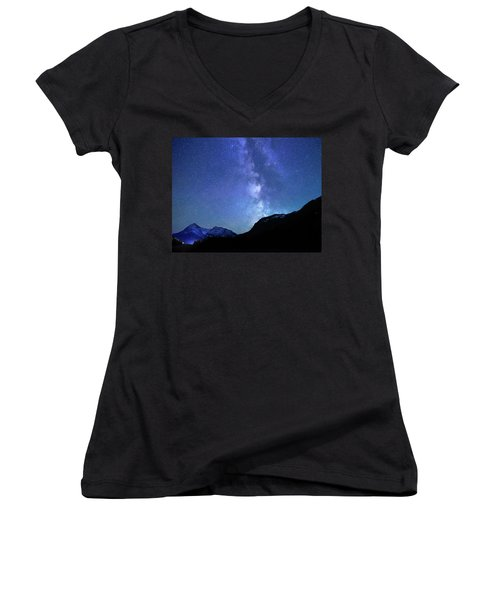 Women's V-Neck T-Shirt (Junior Cut) featuring the photograph Night Sky In David Thomson Country by Dan Jurak